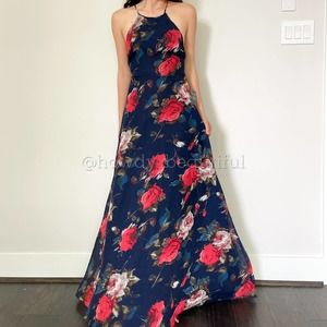 Lulu's Navy Floral Lace Up Maxi Dress